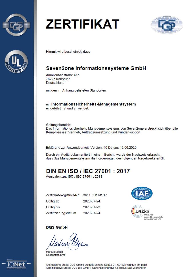 ISO 27001 Zertifikat von Seven2one