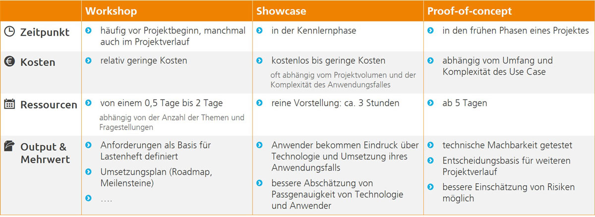 Workshop, Showcase & Proof-of-concept, Vergleich